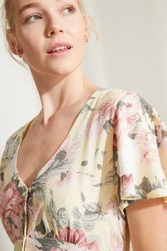 Womensecret Желтое платье миди с короткими рукавами и цветочным принтом цветной