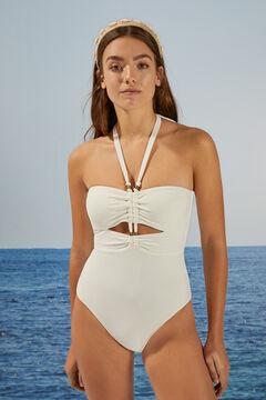 Womensecret Белый купальник из ткани пике со сборками бежевый