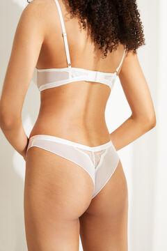 Womensecret Белые трусики-бразилиана с кружевом белый