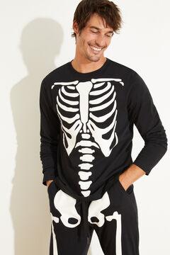 Womensecret Хлопковая пижама с принтом со скелетом черный