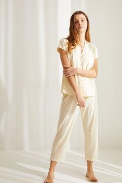 Womensecret Желтая хлопковая пижама в рубашечном стиле с брюками капри «Тигра» цветной