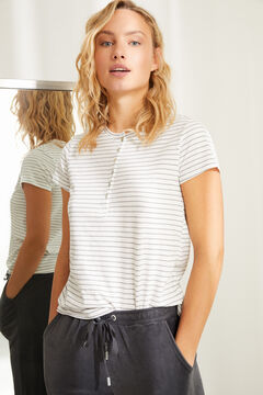 Womensecret Хлопковая футболка с круглой горловиной на пуговицах и полосатым принтом цветной