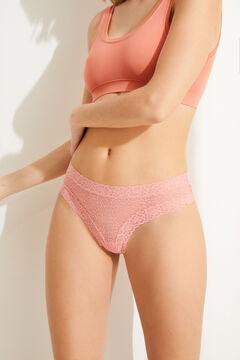 Womensecret Широкие трусики-бразилиана из кружева розового цвета розовый