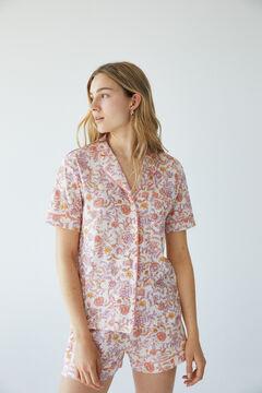 Womensecret Короткая хлопковая пижама с цветочным принтом розовый