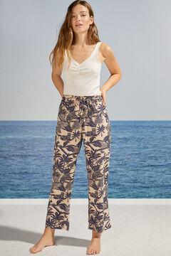 Womensecret Широкие длинные брюки с пальмами бежевый