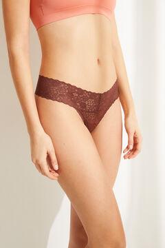 Womensecret Кружевные трусики-танга коричневого цвета бежевый