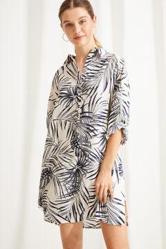 Womensecret Сорочка с тропическим принтом бежевый