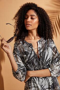 Womensecret Ночная рубашка с тропическим принтом и отделкой из люрекса бежевый
