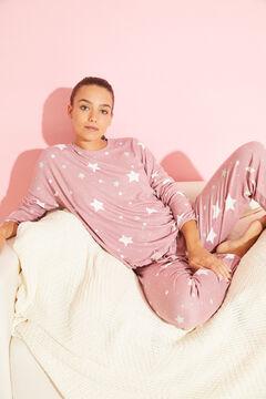 Womensecret Длинная сиреневая пижама с принтом «Звезды» розовый