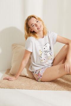 Womensecret Короткая серая пижама из хлопка серого цвета «Снупи» розовый