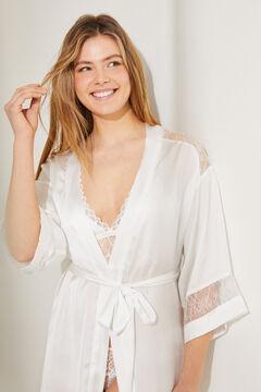 Womensecret Халат миди с рукавами кимоно из атласа с поясом белый
