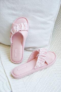 Womensecret Домашние тапочки из хлопка с перекрещенными ремешками розовый