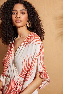 Womensecret Туника-платье с оборками и принтом красный