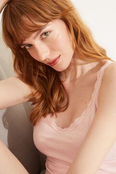 Womensecret Короткая пижама из 100 % экологичного хлопка розового цвета черный
