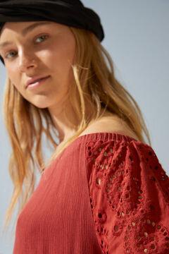 Womensecret Короткое платье с объемными рукавами и вышивкой красного цвета бежевый