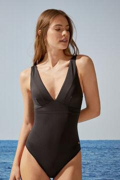 Womensecret EXTRA SUPPORT. Черный моделирующий купальник с треугольным вырезом черный