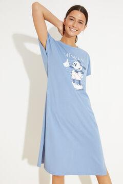 Womensecret Хлопковая ночная рубашка миди голубой