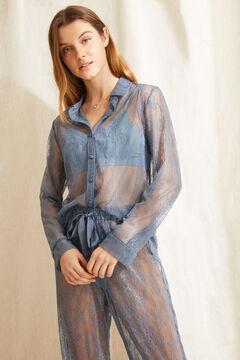 Womensecret Длинная пижама рубашечного типа синего цвета голубой