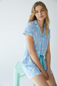 Womensecret Короткая хлопковая пижама в полоску голубой