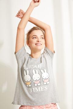 Womensecret Короткая хлопковая пижама с верхом с короткими рукавами «Миффи» серый