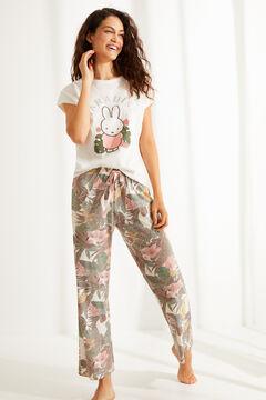 Womensecret Длинная хлопковая пижама с верхом с короткими рукавами «Миффи» бежевый