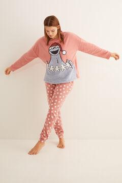 Womensecret Длинная пижама из флиса «Коржик» розового цвета цветной