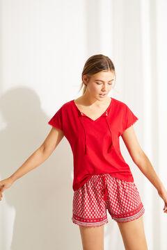 Womensecret Пижама с верхом с короткими рукавами из 100 % хлопка с цветочным принтом  красный