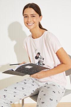 Womensecret Длинная пижама из хлопка «Минни Маус» розовый