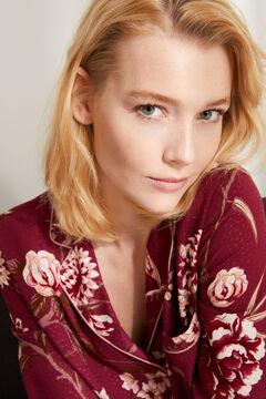 Womensecret Длинная пижама рубашечного типа с цветочным принтом бордового цвета коричневый