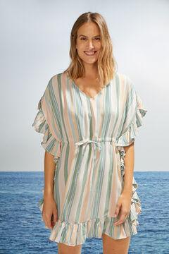 Womensecret Платье-туника в полоску зеленый