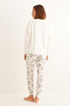 Womensecret Длинная пижама из флиса с принтом «Хедвиг» бежевый