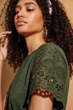 Womensecret Туника с коротким рукавом, вышивкой и поясом зеленый
