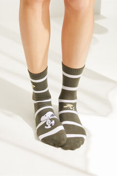 Womensecret Серые носки в полоску «Снупи» зеленый
