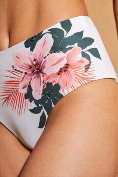 Womensecret Высокие белые трусики-бикини с цветочным принтом бежевый