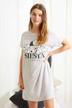 Womensecret Короткая ночная рубашка «101 далматинец» с полосатым принтом серый