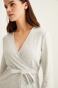 Womensecret Невероятно мягкая длинная пижама в рубчик серого цвета серый