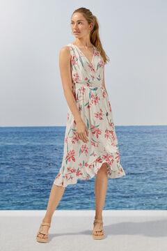 Womensecret Длинное платье с цветочным принтом и оборками из экоматериалов бежевый