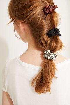 Womensecret Набор из 3 минирезинок для волос черного цвета и с анималистичным принтом бежевый
