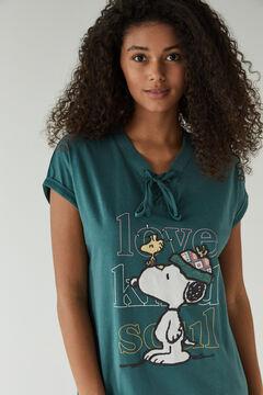 Womensecret Зеленая ночная рубашка миди из 100% хлопка «Снупи» зеленый