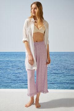 Womensecret Расклешенные струящиеся брюки с анималистичным принтом розовый
