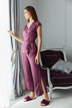 Womensecret Длинная атласная пижама с верхом с короткими рукавами баклажанового цвета розовый