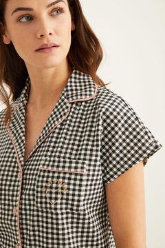 Womensecret Пижама в рубашечном стиле в клетку «виши» черный