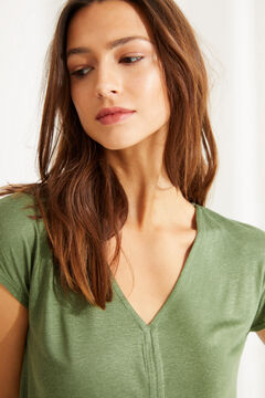 Womensecret Зеленая льняная футболка с треугольным вырезом бежевый