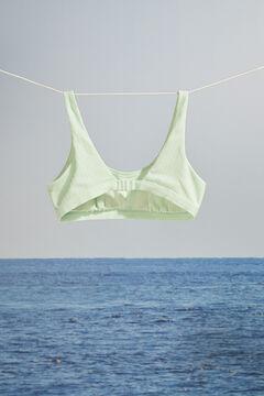 Womensecret Топ бикини типа халтер в рубчик мятно-зеленого цвета зеленый