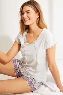 Womensecret Пижама с верхом с короткими рукавами из 100 % хлопка с цветочным принтом  серый