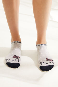 Womensecret Короткие хлопковые носки в горошек Hello Kitty серый