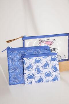 Womensecret Набор из трех синих косметичек «Снупи» с принтом с крабами голубой