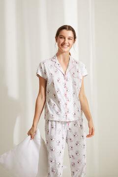 Womensecret Длинная пижама в рубашечном стиле из хлопка розового цвета «Снупи» серый