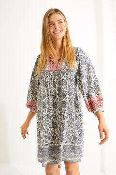 Womensecret  Короткое платье в бельевом стиле с длинными рукавами и цветочным принтом  серый