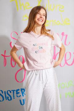Womensecret Розовая пижама с верхом с короткими рукавами из органического хлопка белый